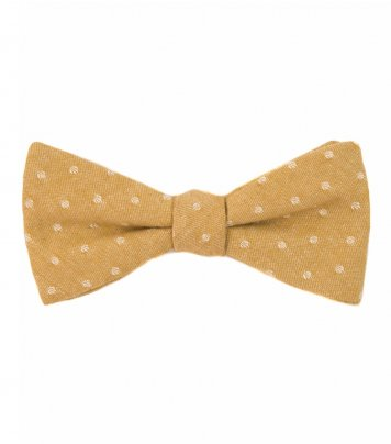 Mustard dots self-tie bow tie