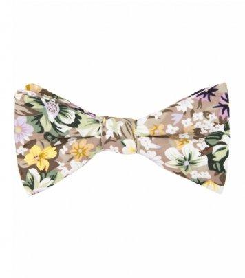 Beige floral self-tie bow tie