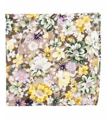 Beige floral pocket square