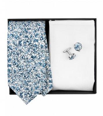White blue floral necktie set