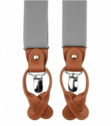 Light grey button and clip suspenders for men