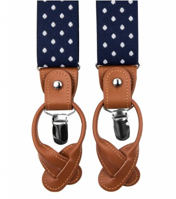 Navy blue dots button and clip suspenders for men
