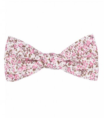 White pink floral self-tie bow tie
