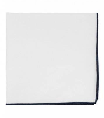 White pocket square with navy blue edge