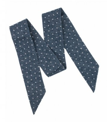 Blue white dots ladies bow