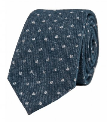 Blue white dots necktie