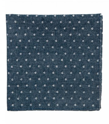 Blue white dots pocket square