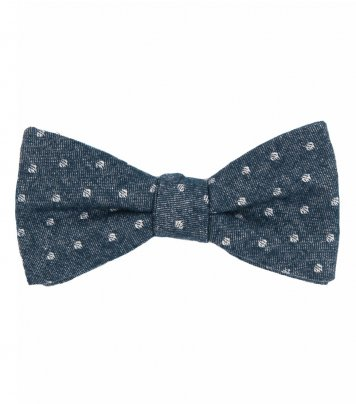 Blue white dots self-tie bow tie