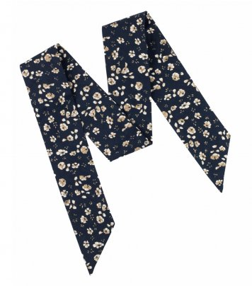 Navy blue and brown floral ladies bow