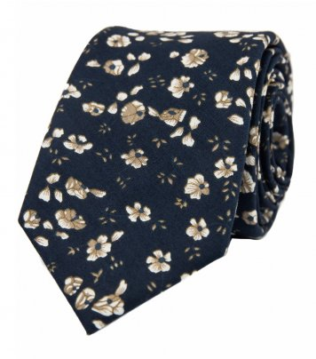 Navy blue and brown floral necktie