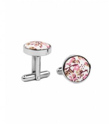 White pink floral cufflinks