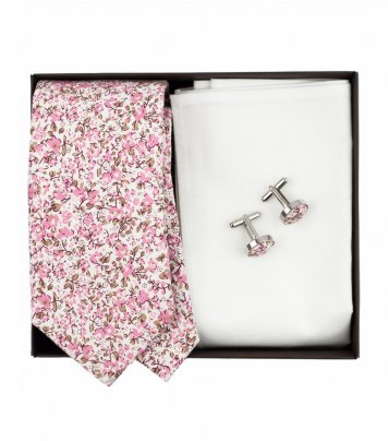 White pink floral necktie set