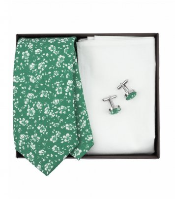 Green floral necktie set