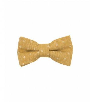 Mustard dots kids bow tie