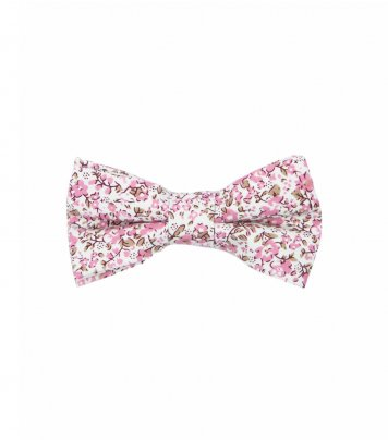 White pink floral kids bow tie