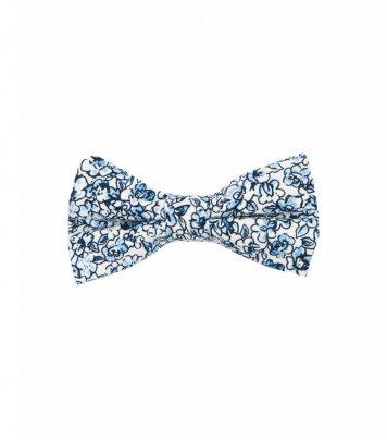 White blue floral kids bow tie