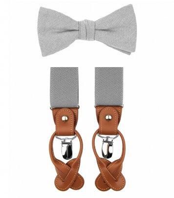 Mist grey bow tie suspenders set