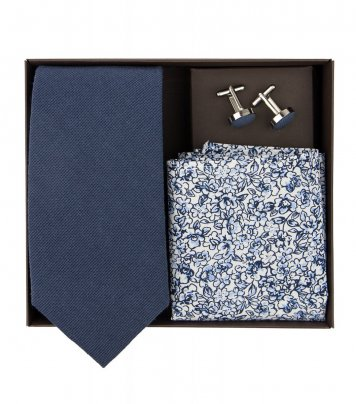 Navy blue necktie set