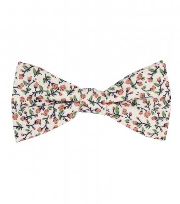 Cream and brown floral self-tie bow tie