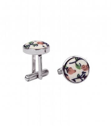 Cream and brown floral cufflinks