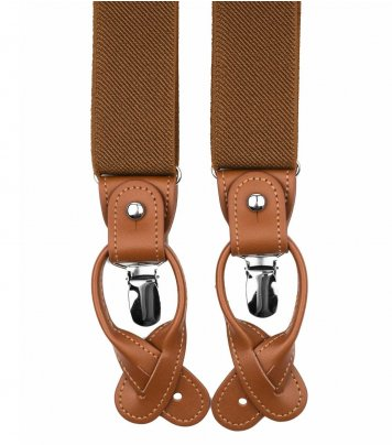 Brown button and clip suspenders for men