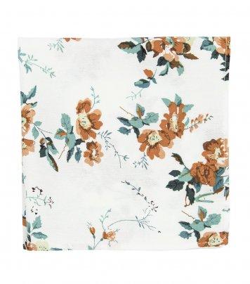 White brown floral pocket square