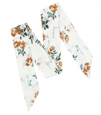 White brown floral ladies bow