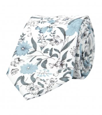 White necktie with blue-gray flowers