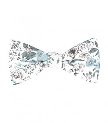 White self-tie bow tie with blue-gray flowers