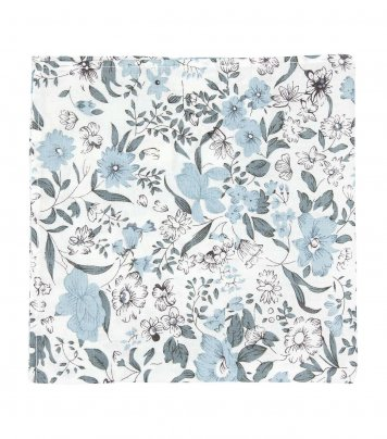White pocket square with blue-gray flowers