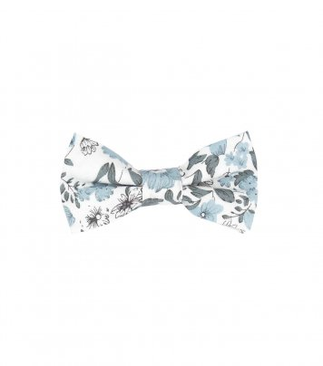 White kids bow tie with blue-gray flowers