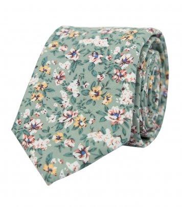 Sage green floral necktie