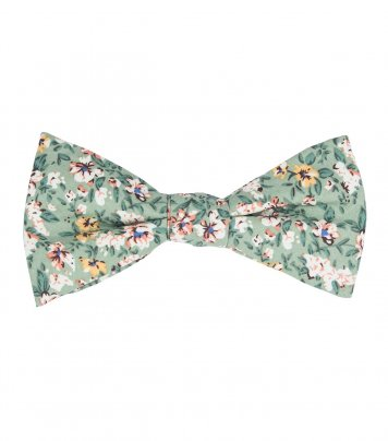 Sage green floral self-tie bow tie