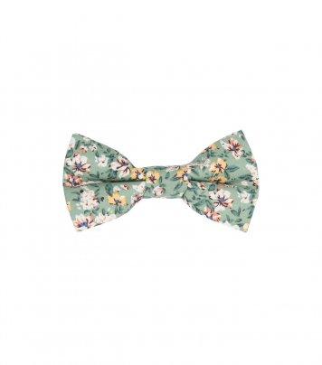 Sage green floral kids bow tie