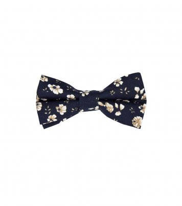Navy blue and brown floral kids bow tie