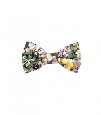 Beige floral kids bow tie