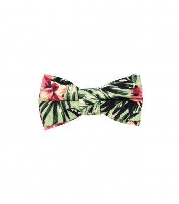 Green tropical hibiscus kids bow tie