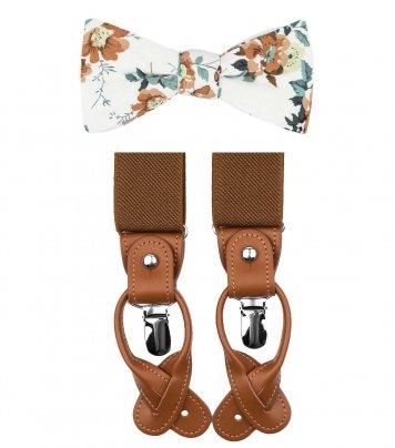 White brown bow tie suspenders set