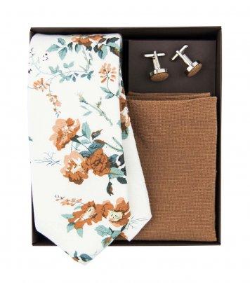 White and brown floral necktie set
