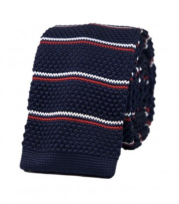 Navy blue knitted tricolor tie