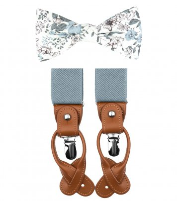 Blue gray bow tie suspenders set