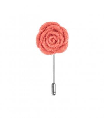 Salmon pink felt lapel flower