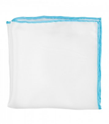 White silk pocket square light blue edge