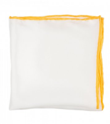White silk pocket square yellow edge