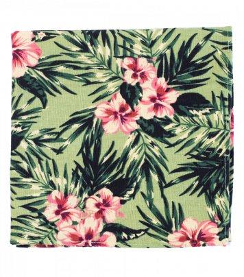 Green hibiscus pocket square