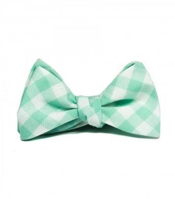 Mint gingham self-tie bow tie