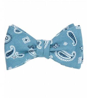 Blue paisley self-tie bow tie
