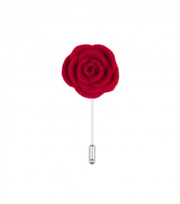Red felt lapel flower