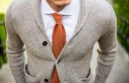 Vlněná oranžová kravata