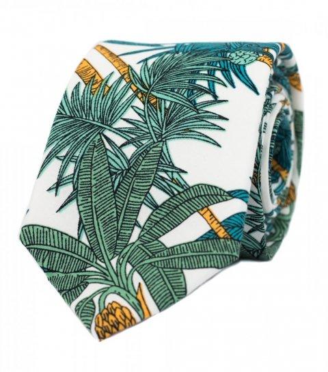 Bílá kravata s palmami